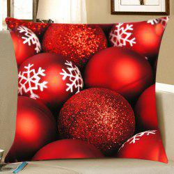Christmas Glitter Balls Print Decorative Linen Pillowcase - Red - W18 Inch * L18 Inch