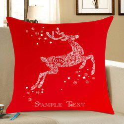 Christmas Snowflakes Deer Print Decorative Linen Pillowcase - Red - W18 Inch * L18 Inch