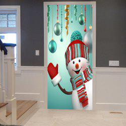 Christmas Baubles Snowman Pattern Door Cover Stickers