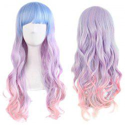 Long Neat Bang Wavy Synthetic Colormix Cosplay Wig -