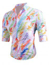 Colored Mapel Leaves Print Long Sleeve Shirt -