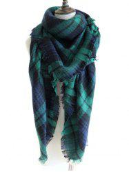 Outdoor Checked Pattern Artificial Wool Fringed Shawl Scarf -