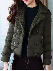 Padded Short Jacket with Fur Collar -