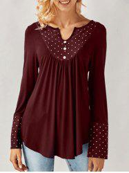 Long Sleeve Polka Dot Smock Blouse -