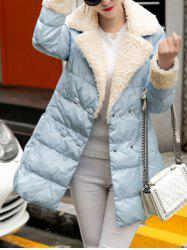 Padded Double Breasted Coat with Fur Collar -