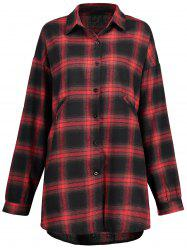 Check Plus Size Button Up Shirt -