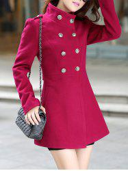 Buttoned Stand Collar Skirted Coat -