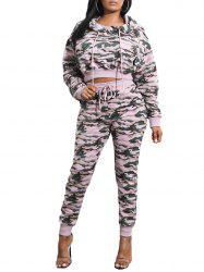 Camouflage Print Cropped Hoodie with Cuff Pants -