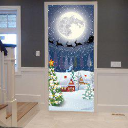 Moon Night Christmas Sled Pattern Door Stickers