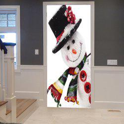 Christmas Snowman Pattern Door Art Stickers - White - 38.5*200cm*2pcs
