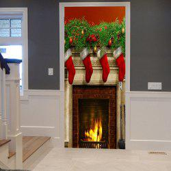 Christmas Stockings Fireplace Pattern Door Stickers - 38.5*200cm*2pcs
