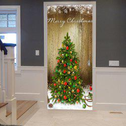 Christmas Tree Pattern Door Stickers - Wood Color - 38.5*200cm*2opcs