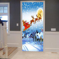 Snowscape Christmas Sled Pattern Door Stickers - Cloudy - 38.5*200cm*2pcs