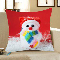 Cute Snowman Doll Pattern Square Pillow Case -
