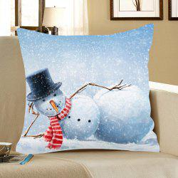 Home Decor Snowman Pattern Linen Pillow Case