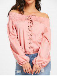 Lace Up Off The Shoulder Blouse -
