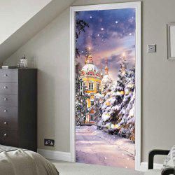 Christmas Castle Print Door Art Stickers - 38.5*200cm*2pcs