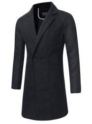Trench-coat en Laine à Double Boutonnage Long -