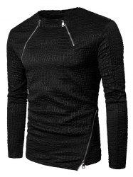 Leopard Emboss Zippers Long Sleeve T-shirt -