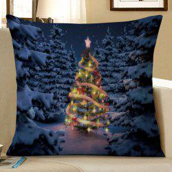 Christmas Tree Forest Print Decorative Linen Pillowcase -