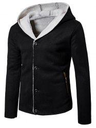 Hooded Button Up Fleece Suede Jacket -