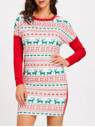 Christmas Snowflake Elk Long Sleeve Dress -