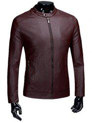 Casual Zip Up Flocage PU Veste en cuir -