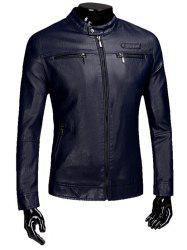 Veste Zipper Flocking Faux Leaather Casual -