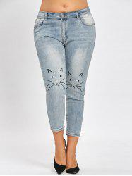 Plus Size Cat Face Pattern Light Wash Jeans -