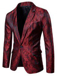 One Button Florals Jacquard Blazer -