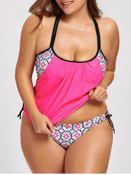 Plus Size Printed Blouson Tankini Swimsuit -