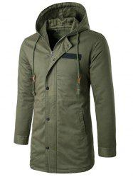 Hooded Drawstring Longline Zip Up Padded Coat -