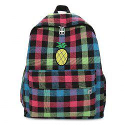 Color Block Pineapple Embroidery Plaid Backpack -