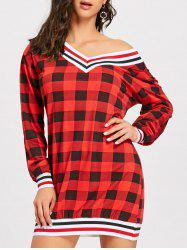 Plaid Long Sleeve V Neck Dress -