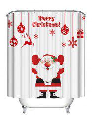 Christmas Santa Claus Letters Print Waterproof Bathroom Shower Curtain -