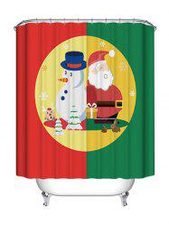 Christmas Snowman Santa Claus Print Waterproof Bathroom Shower Curtain -