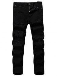 Straight Leg Applique Ripped Pants -