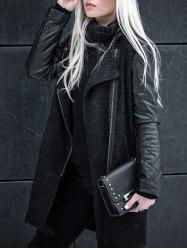 Faux Leather Zipper Coat -