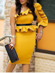 One Shoulder Ruffle Peplum Dress -