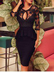 Keyhole Neck Lace Panel Peplum Dress -