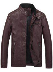 Flocking Casual Faux Leather Jacket with Zipper Pocket -