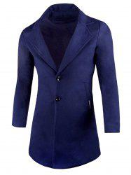Two Button Lapel Wool Blend Coat -