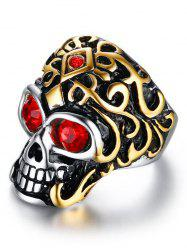 Rhinestone Stainless Steel Skull Finger Ring -