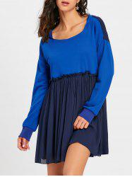 Long Sleeve Hooded Pleated Dress -