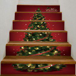 DIY Snow Tree Printed Decorative Christmas Stair Stickers - Red And Green - 100*18cm*6pcs