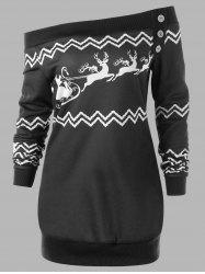 Plus Size Pullover Christmas Zigzag Deer Skew Neck Sweatshirt -