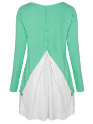 Two Tone Button Embellished High Low T-shirt -