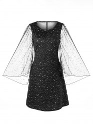 Sheer Bell Sleeve Galaxy Dress -