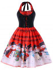 Christmas Plus Size Music Notes Halter Neck Dress - Red - 5xl