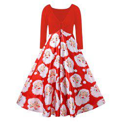 Plus Size Santa Claus Print Midi Christmas Dress -